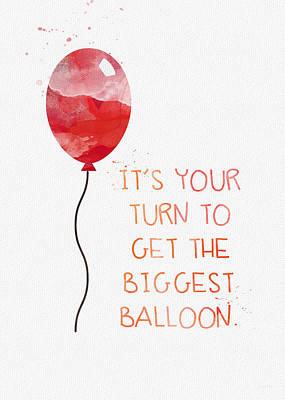 Balloons Mixed Media - Biggest Balloon- Card by Linda Woods