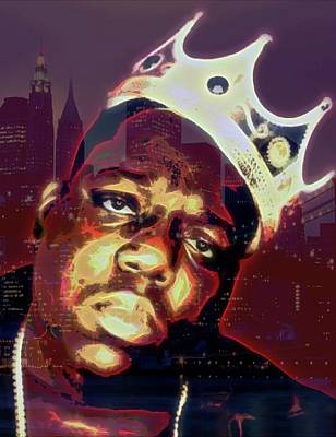 Rapper Digital Art - Biggie And Brooklyn by Dan Sproul