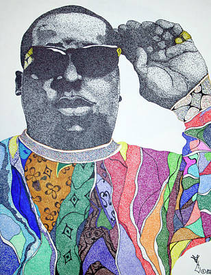 Pointalism Drawing - Biggie Biggie Biggie by KeMonee Casey