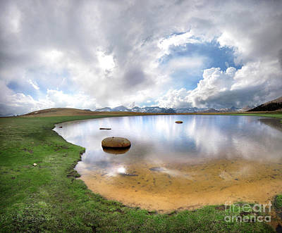 Clouds Rights Managed Images - Bighorn Plateau Lake Cloud Reflections - John Muir Trail Royalty-Free Image by Bruce Lemons