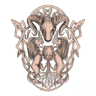 Mountain Goat Digital Art - Bighorn Sheep Lion Tree Coat Of Arms Celtic Knotwork Tattoo by Aloysius Patrimonio