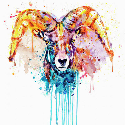 Big Square Format Mixed Media - Bighorn Sheep Portrait by Marian Voicu