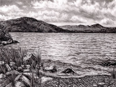 Drawing - Big Wood Lake by Shana Rowe Jackson
