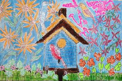Painting - Biirdhouse With Wild Flowers by Victoria Hasenauer