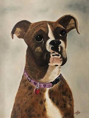 Bulldog Oil Painting - Bijou by Judy Jones