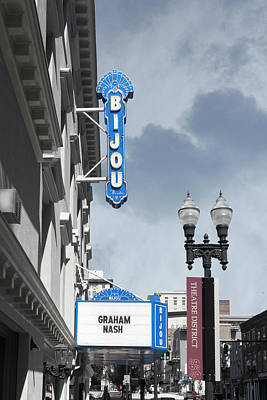 Photograph - Bijou Theatre Sign by Sharon Popek