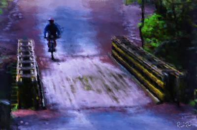 Digital Art - Bike And Bridge by Richard Ricci