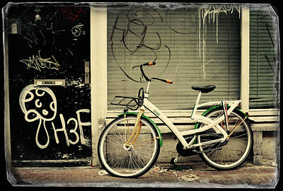 Photograph - Bike And Graffiti. Old Cards From Amsterdam by Jenny Rainbow