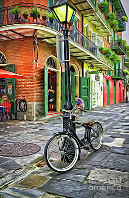 Photograph - Bike And Lamppost In Pirates Alley-painted by Kathleen K Parker