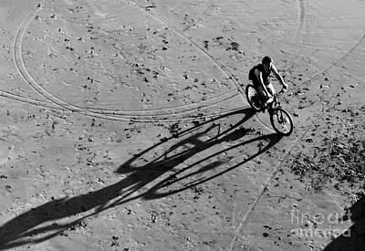 Photograph - Bike And Shadow - San Francisco Beach At Dusk by Carlos Alkmin