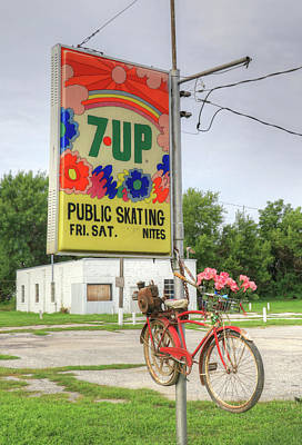 Seven-up Sign Photograph - Bike And Skate by J Laughlin