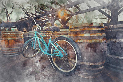 Photograph - Bike And Wine Barrels In Napa by Brandon Bourdages