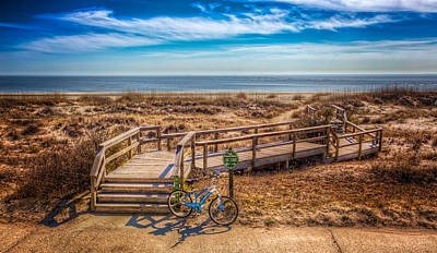 Driftwood Beach Fog Wall Art - Photograph - Bike At The Boardwalk by Debra and Dave Vanderlaan