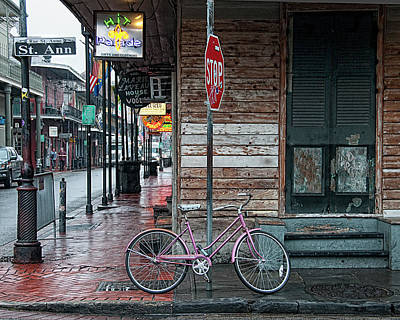 Voodoo Shop Photograph - Bike At The Corner Of Rue St. Anne And Bourbon Street - New Orleans by Mitch Spence