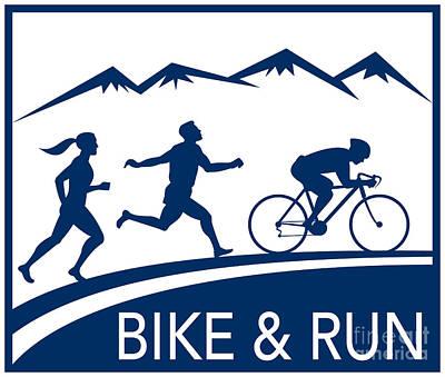 Jogging Digital Art - Bike Cycle Run Race by Aloysius Patrimonio
