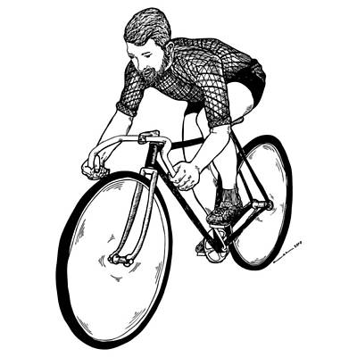 Bike Drawing - Bike Cyclist by Karl Addison