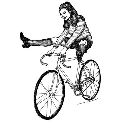 Person Drawing - Bike Fun by Karl Addison