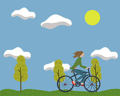 Summer Digital Art - Bike Girl by Nicole Wilson
