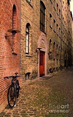 Copenhagen Denmark Digital Art - Bike In Copenhagen Alley by Alberta Brown Buller
