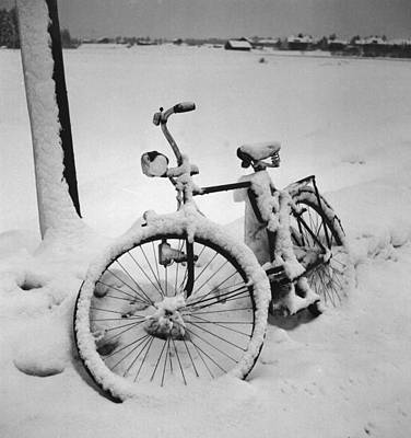 Eve Photograph - Bike In The Snow Christmas Card by German School