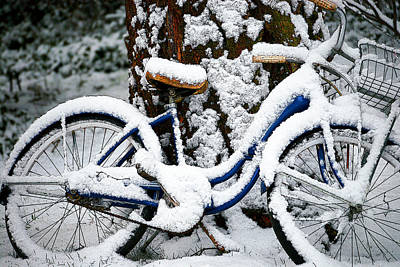 Bike In The Snow Art Print