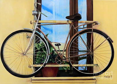 Painting - Bike In The Window by Marilyn McNish