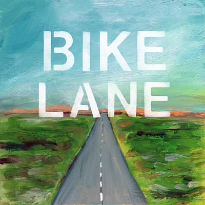 Bicycle Painting - Bike Lane- Art By Linda Woods by Linda Woods