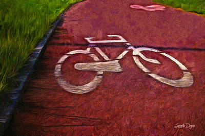 Mat Digital Art - Bike Lane - Da by Leonardo Digenio