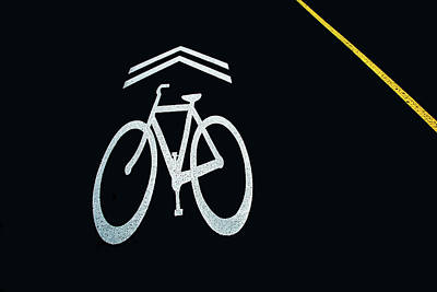 Photograph - Bike Lane Symbol And Boundary by Gary Slawsky