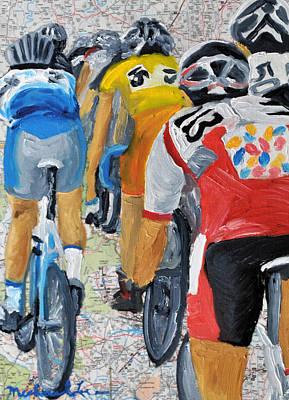 Bike Map 2 Art Print by Michael Lee
