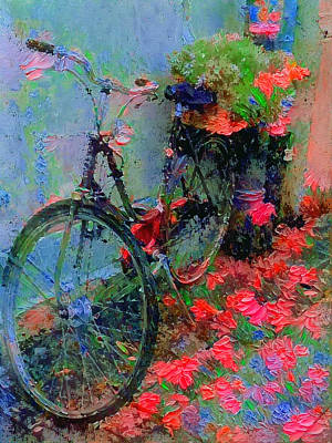 Digital Art - Bike Of Flowers by Yury Malkov