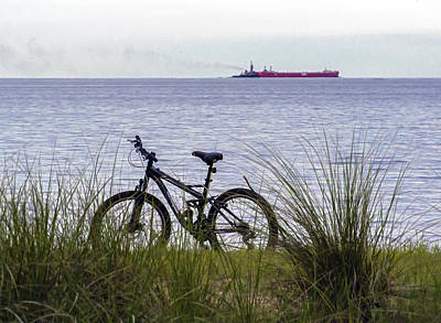Two Wheeler Photograph - Bike On The Bay by Brian Wallace