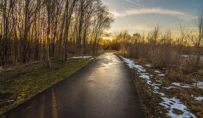 Winter Light Through The Trees Photograph - Bike Path  by Amel Dizdarevic
