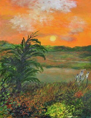 Cape Cod Painting - Bike Path by Robin Manning
