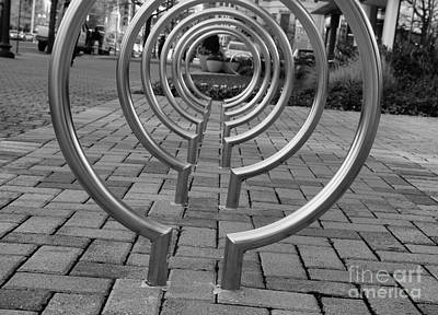Photograph - Bike Rack Black And White Version by John S