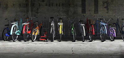 Multicolor Digital Art - Bike Rack by Cynthia Decker