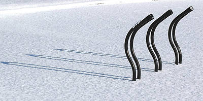 Bicycling Photograph - Bike Racks In Snow by Steve Somerville