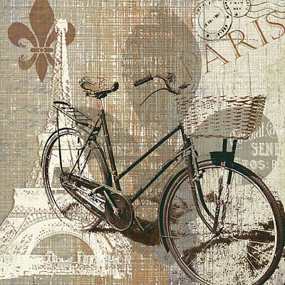 Fleurs De Lis Bicycle Painting - Bike Ride In Paris by Carol Robinson