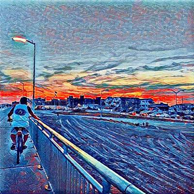 Digital Art - Bike Ride Sunset by Rita Tortorelli