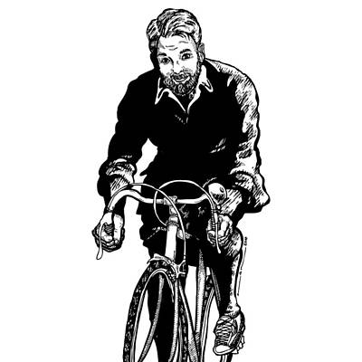 Bicycle Drawing - Bike Rider by Karl Addison