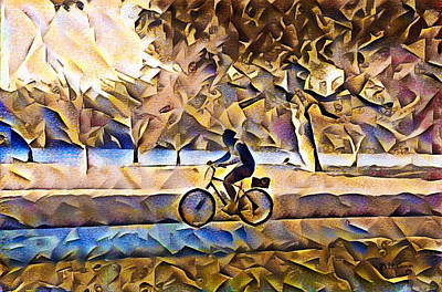 Bike Riding Painting - Bike Riding Along The River by Bill Cannon