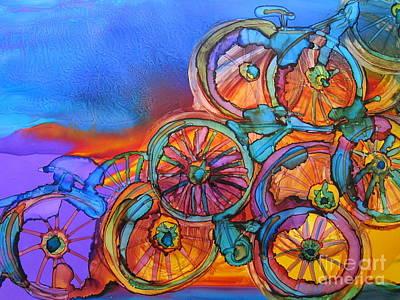 Lino Painting - Bike Sculpture by Susan Riha Parsley