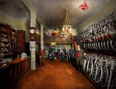 Photograph - Bike - Store - Haverford Cycles 1919 by Mike Savad