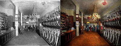 Photograph - Bike - Store - Haverford Cycles 1919 - Side By Side by Mike Savad