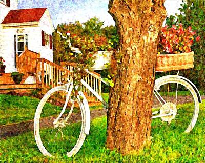 Bike With Flowers Art Print