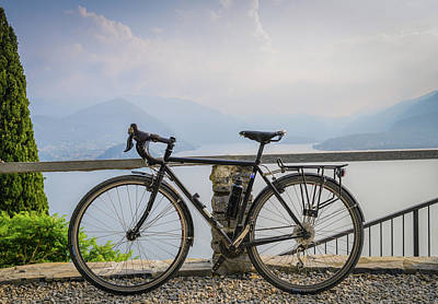 Photograph - Bike With Lake Background by Alexandre Rotenberg