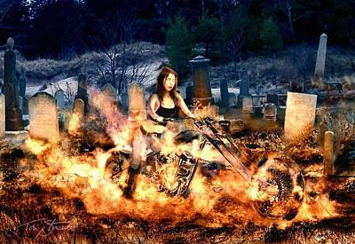 Inferno Digital Art - Biker Chick by Tom Straub