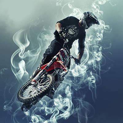 Flying In The Sky - Biker In Smoke Art Print by Sergey Yurchenko