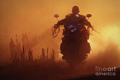 Photograph - Biker Man Riding Motorcycle On The Sunset by Dimitar Hristov