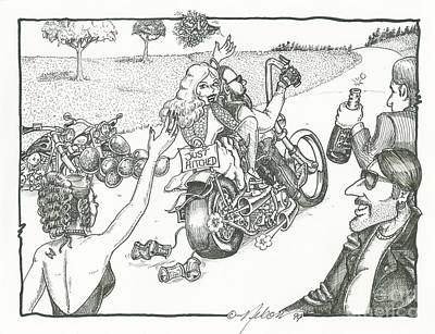 Dave Drawing - Biker Wedding by David T Nelson